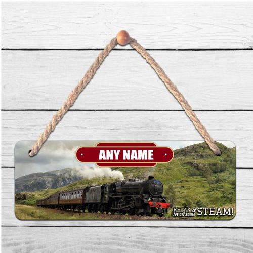 Personalised Steam Train  ANY NAME Hanging Door Plaque N7